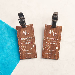 Personalised Walnut Wedding Luggage Tags