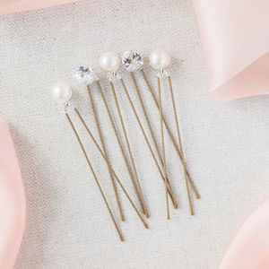 Set Of Five Pearl And Diamante Wedding Hairpins - jewellery sale