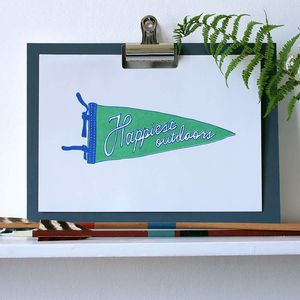 Happiest Outdoors Green Pennant A4 Riso Print