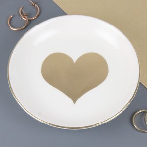Gold Heart Trinket Dish - jewellery storage & trinket boxes