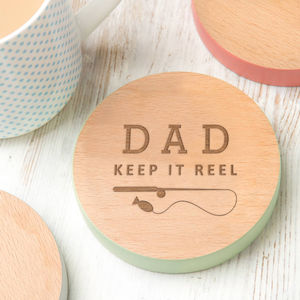 Funny Fishing Gift 'Keep It Reel' Personalised Coaster - placemats & coasters