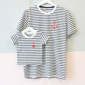 Stripy Anchor Est. Parent And Child T Shirt Set - boy's t-shirts