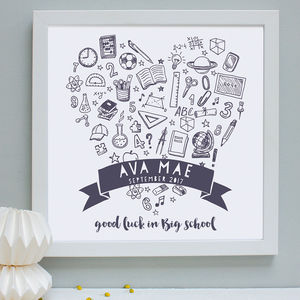 Personalised New School Doodles Framed Print - first day of school gifts