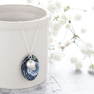 Blue William Morris Print Oval Necklace With Pearl