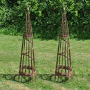 Two Handmade Spiral Willow Garden Obelisks