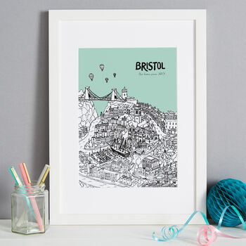 Bristol print in colour 11 Mint, font style 2, A4 size framed in white