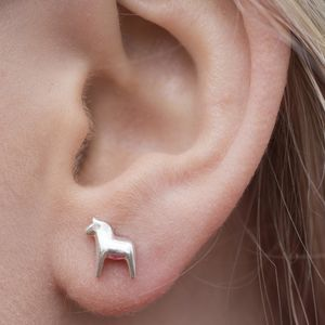 Sterling Silver Scandi Dala Horse Earrings