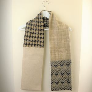 Men's Neutral And Brown Fabric Scarves