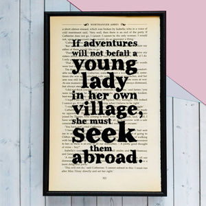 Jane Austen 'Adventures' Travel Quote Book Print - book-lover