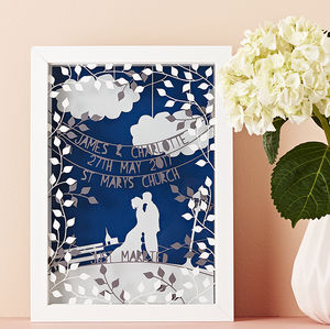 Personalised Wedding Triple Layered Papercut - wedding gifts