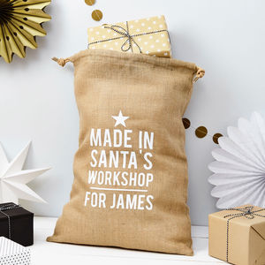 Personalised Santa's Workshop Christmas Sack - storage bags