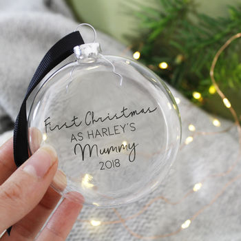 First Christmas As A Mum Glass Bauble