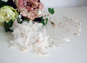 Hair Vine With Lace And Silk Flower - bridal hairpieces