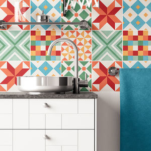 Colourful Geometric Tile Stickers Set Pack Of 24 - tiles & tile stickers