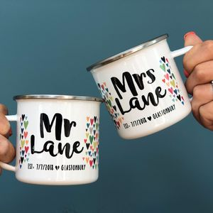 Mr And Mrs Personalised Enamel Mug Wedding Set - mugs