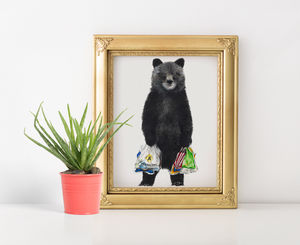 Shopping Bear Print