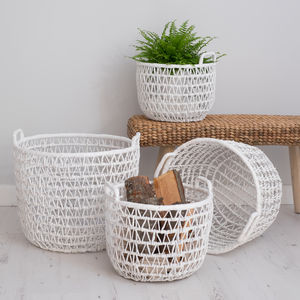 White Wicker Storage Baskets - bedroom