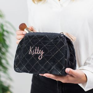 Personalised Quilted Charcoal Velvet Wash Bag - best mother's day gifts