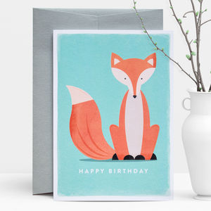 Birthday Fox Greeting Card