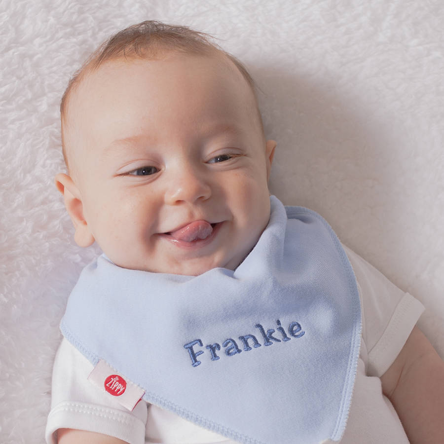 Personalised Spots And Stars Four Baby Bandana Bibs By Thats Mine Facial