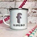 Personalised 3D Cartoon Sketch Initial Enamel Mug