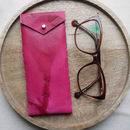 Leather Glasses Case With Fastening, Hand Tie Dyed