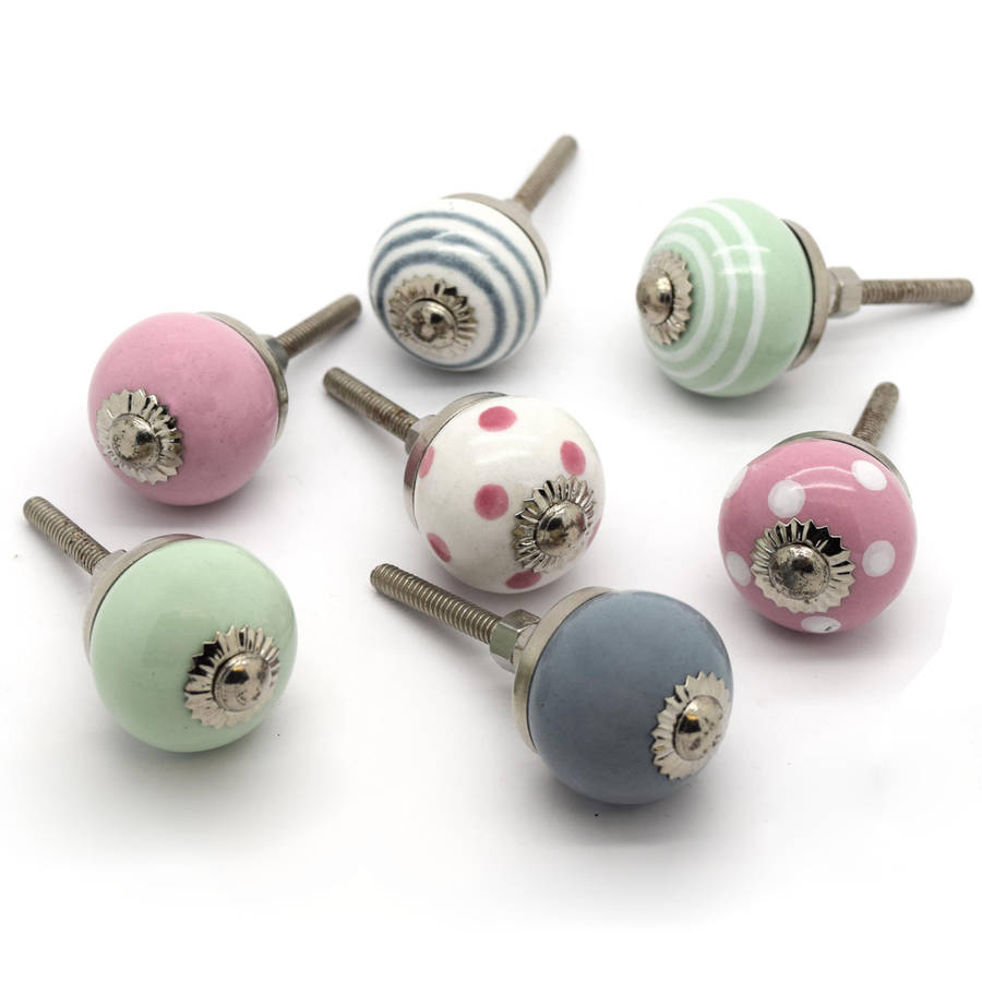 Small Colourful Ceramic Cupboard Door Knobs By Pushka Home