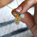 Personalised Hamsa Initial Opal Charm Necklace