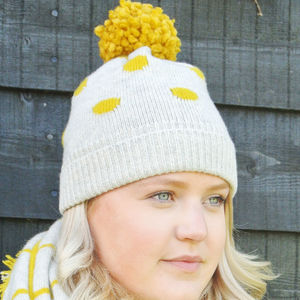 Personalised Knitted Polka Dot Bobble Hat