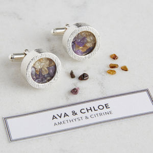 Personalised Mixed Birthstone Cufflinks - jewellery