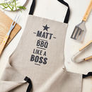 Personalised Bbq Like A Boss Linen Apron