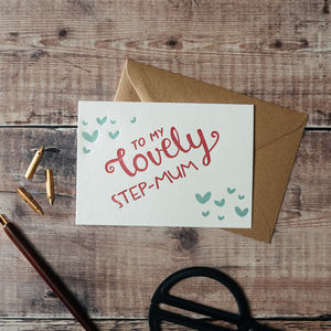 'To My Lovely Step Mum' Letterpress Card - view all mother's day gifts