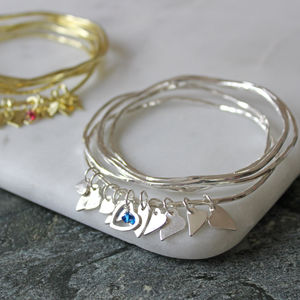 Swarovski Crystal Heart Stacking Bangles - winter sale