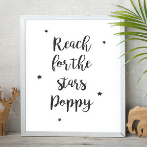 'Reach For The Stars' Children's Typography Print - nursery pictures & prints