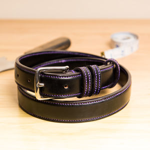 Vibe3 Raised Handstitched English Leather Belt - belts