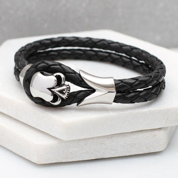 Men's Personalised Leather And Rhodium Skull Bracelet