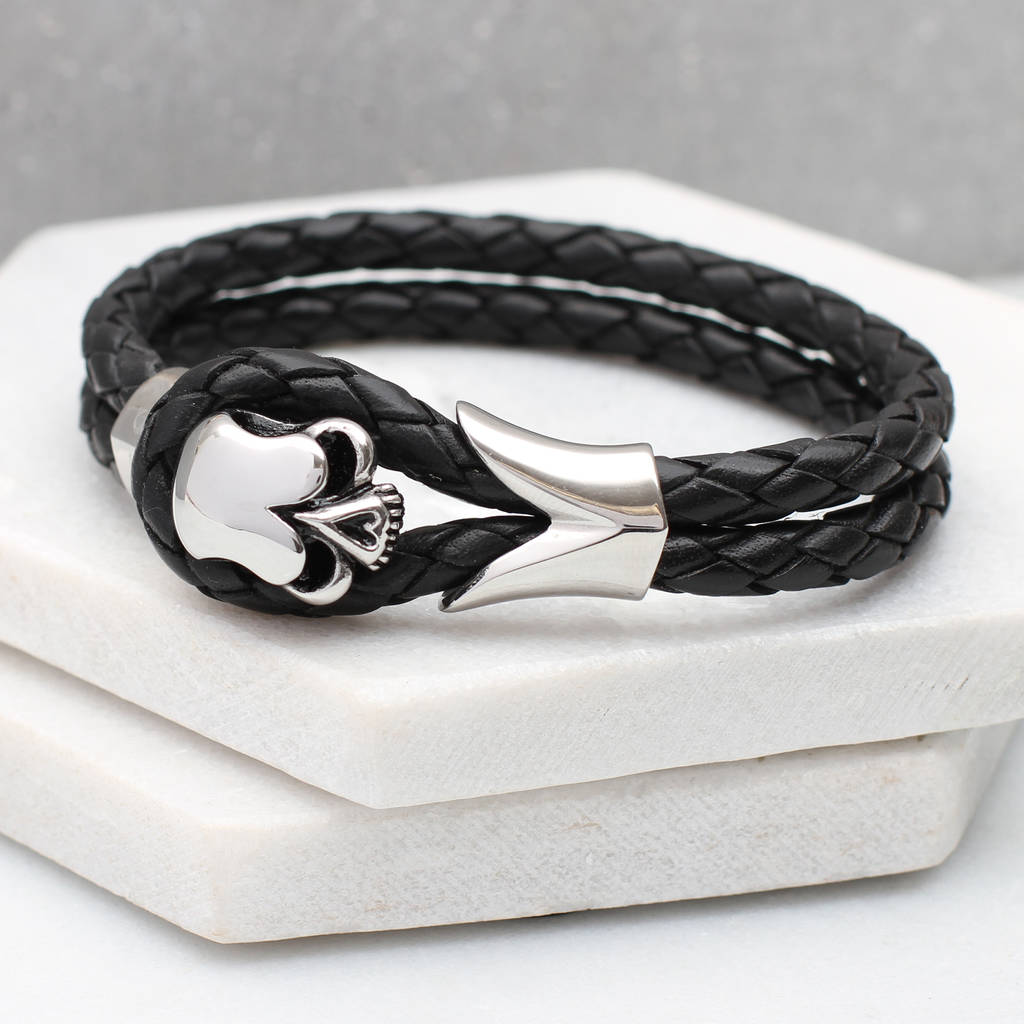 Men S Personalised Leather And Rhodium Skull Bracelet
