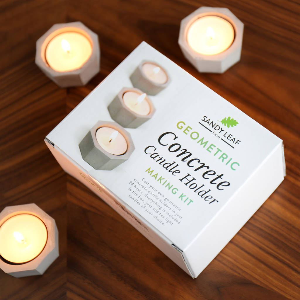 Geometric Concrete Candle Holder Making Kit By Sandy Leaf Farm Notonthehighstreet Com