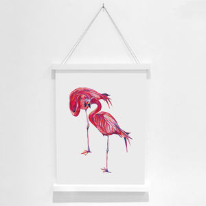Flamingo Pencil Illustration Fine Art Print - animals & wildlife