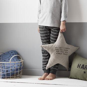 'You Always See The Stars' Linen Cushion
