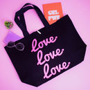 Love Love Love Oversized Neon Slogan Tote Bag