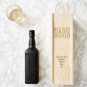 Personalised Wooden Whiskey Bottle Box - cards & wrap