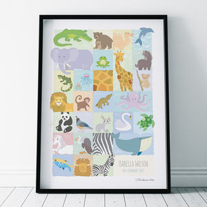 Animal Abc Personalised Print - children's room