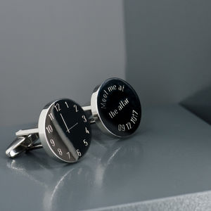 Personalised Time Clock Face Cufflinks - gifts for the groom