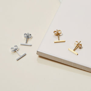 Sterling Silver Bar Stud Earrings - earrings