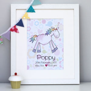 Unicorn Personalised Children's Print - pictures & prints for children