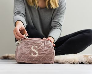 Personalised Dusky Pink Quilted Wash Bag With Initial - gifts for her