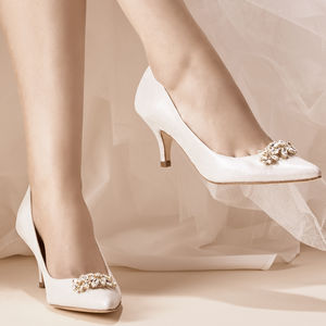 Savannah Silver Metallic Suede Wedding Shoes