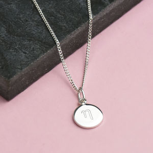 Greek Initial Sterling Silver Mini Disc Necklace
