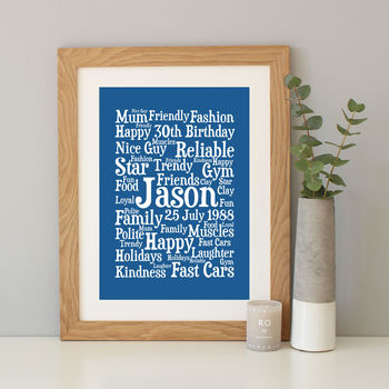 Personalised 30th Birthday Word Art Gift